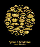 Lips and Moustaches gold set. Royalty Free Stock Photo