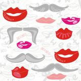 Lips and moustaches pink red gray pattern Royalty Free Stock Photos