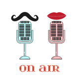 Lips and mustache are talking to the microphone Stock Images