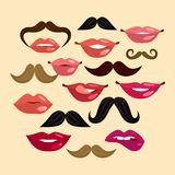 Lips and Mustaches Royalty Free Stock Image