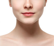 Lips neck Blonde woman beauty portrait close-up isolated on white Royalty Free Stock Photos