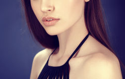 Lips and nose beautiful woman portrait young on black dark background Royalty Free Stock Photos