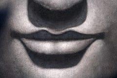 Lips and nose buddha. Background buddha, black and white Stock Images