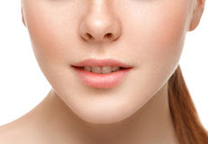 Lips nose chin cheeks. Beauty face portrait young beautiful woman Stock Photo
