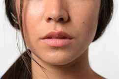 Lips and Nose of a Young Woman Royalty Free Stock Image