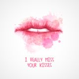 Lips painted in watercolor. Vector illustration Royalty Free Stock Images