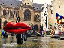 Lips. Paris,France -July 9th 2014: Stravinsky fountain next to centre Pompidou. This is a fountain featuring 16 sculptures that move and spray water, designed as Royalty Free Stock Images