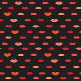 Lips pattern. Stylish dark pattern with color lips. Vector illustration Stock Photography