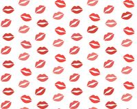 Lips pattern. Vector seamless pattern with woman`s red and pink kissing flat lips isolated on white Royalty Free Stock Image