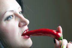 Lips and pepper Stock Image