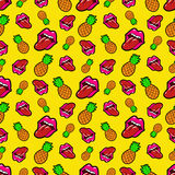 Lips and Pineapples Seamless Pattern. Background in Retro Fashion Style Stock Photo