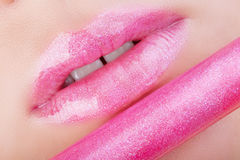 Lips with pink glitter. Royalty Free Stock Images