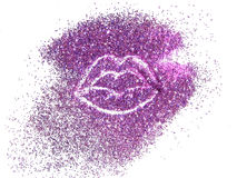 Lips of pink glitter sparkle on white background Stock Photo