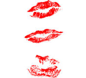 Lips print. Red lipstick kiss lips vector Stock Images