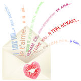 Lips print on the envelope with I love you message Royalty Free Stock Photos