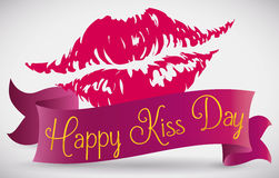 Lips Print with a Ribbon around it Commemorating Kiss Day, Vector Illustration Stock Photos