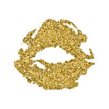 Lips print silhouette with golden sparkles. Golden lips, glamour air kiss Royalty Free Stock Photography