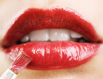 Lips with red lipstick Stock Photo