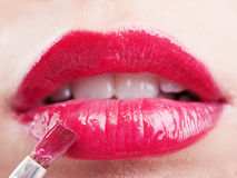Lips with red lipstick Royalty Free Stock Images