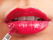 Lips with red lipstick Stock Photos