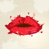 Lips Red Means Lipgloss Beauty And Make-Up Stock Photography