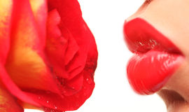 Lips and rose Royalty Free Stock Images