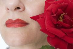 Lips and rose Royalty Free Stock Photos
