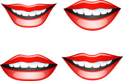 Lips set. Vector image smiling female lips. Isolated on white. EPS 8 Royalty Free Stock Photos