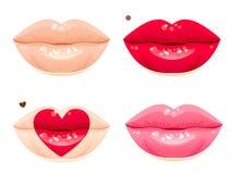 Lips set. Heart lips set with a birthmark Stock Photos