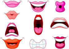 Lips. Set of different human mouth and lips Royalty Free Stock Photo
