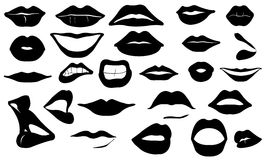 Lips. Set of different lips isolated Stock Image