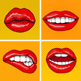 Lips Set in Retro Pop Art Style Royalty Free Stock Photography