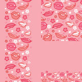 Lips set of seamless pattern backgrounds and Stock Image