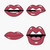 Lips set. Set of stickers and patches in pop art and retro cartoon. Lips set. Set of stickers and patches in pop art and retro cartoon style. Female comic Stock Image