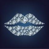 Lips shape made up a lot of diamonds Royalty Free Stock Photo