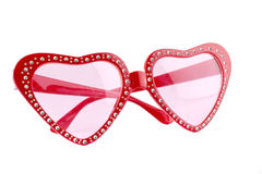 Lips shapes red sunglasses on white Stock Photography