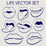Lips silhouettes ball pen vector icons Royalty Free Stock Images