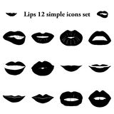Lips 12 simple icons set. Lips and emotions 12 simple icons set stock illustration