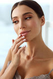 Lips Skin Care. Woman With Beauty Face Applying Lip Balm On. Lips Skin Care. Beautiful Woman With Beauty Face Applying Lip Balsam, Lipbalm On Full Sexy Lips Stock Image