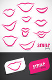 Lips and Smiles Collection. Collection of lips and smiles logo artwork designs Stock Image