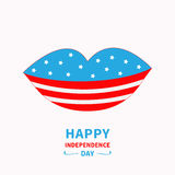Lips with star and strip White background Happy stock photo