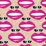 Lips and sunglasses seamless on the beach sand Royalty Free Stock Image