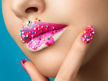 Lips with sweet donut makeup Royalty Free Stock Photo