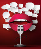 Lips are talking to the microphone Royalty Free Stock Photo