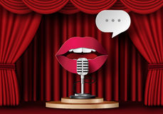 Lips are talking to the microphone Stock Photos