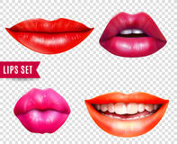 Lips Transparent Set. Lips realistic transparent set with bright lipstick  vector illustration Royalty Free Stock Images
