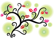 Lips on the tree Royalty Free Stock Photos