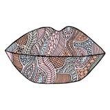 Lips vector. Lipstick zenart. Kiss zen tangle. Makeup zen doodle. Mouth zentangle. Smile zendoodle. Cosmetic coloring book. Stock Photos