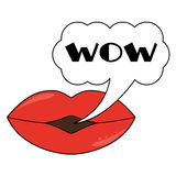 Lips wit speech bubble Royalty Free Stock Image