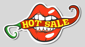 Free Lips With Red Hot Chili Pepper With Hot Sale Lettering. Pop Art Mouth Biting Spice. Close Up View Of Cartoon Girl Eating Flav Royalty Free Stock Photo - 79981455